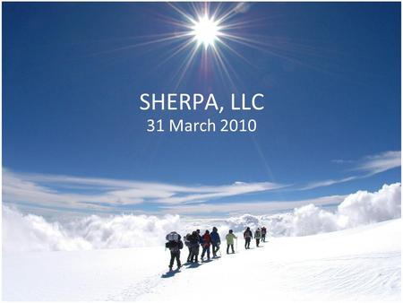 "SHERPA, LLC 31 March 2010. The Problem Mountains Caves Tree Cover Urban ""Canyons"" Hikers and outdoor enthusiasts often use maps and compasses for navigation."
