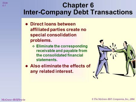 © The McGraw-Hill Companies, Inc., 2004 Slide 6-1 McGraw-Hill/Irwin Chapter 6 Inter-Company Debt Transactions Direct loans between affiliated parties create.