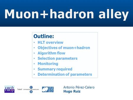 Outline: HLT overview Objectives of muon+hadron Algorithm flow Selection parameters Monitoring Summary required Determination of parameters Antonio Pérez-Calero.