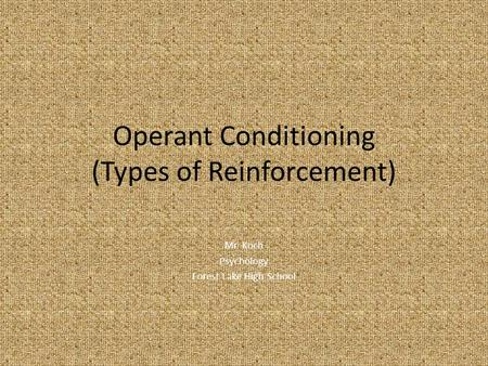 Operant Conditioning (Types of Reinforcement) Mr. Koch Psychology Forest Lake High School.