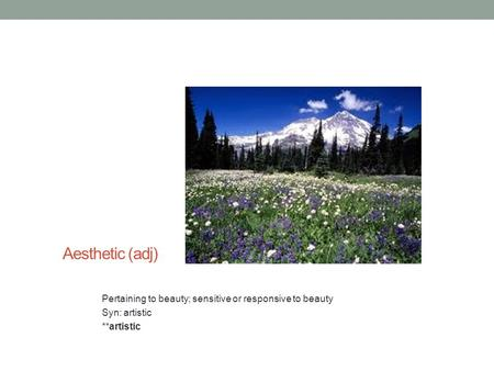 Aesthetic (adj) Pertaining to beauty; sensitive or responsive to beauty Syn: artistic **artistic.
