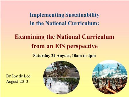 Implementing Sustainability in the National Curriculum: Examining the National Curriculum from an EfS perspective Saturday 24 August, 10am to 4pm Dr Joy.