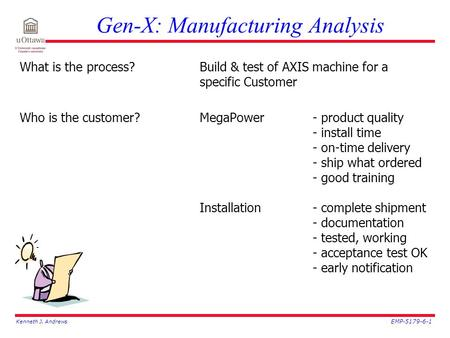 Kenneth J. Andrews EMP-5179-6-1 Gen-X: Manufacturing Analysis What is the process?Build & test of AXIS machine for a specific Customer Who is the customer?MegaPower-