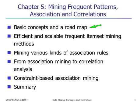 2015年5月25日星期一 2015年5月25日星期一 2015年5月25日星期一 Data Mining: Concepts and Techniques1 Chapter 5: Mining Frequent Patterns, Association and Correlations Basic.