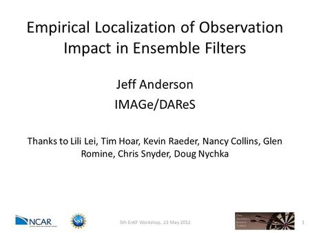 Empirical Localization of Observation Impact in Ensemble Filters Jeff Anderson IMAGe/DAReS Thanks to Lili Lei, Tim Hoar, Kevin Raeder, Nancy Collins, Glen.