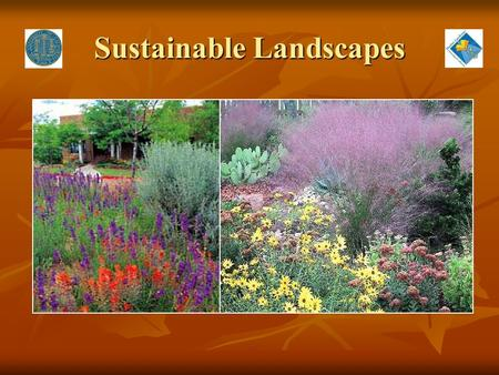 "Sustainable Landscapes. Sustainability ""meeting the needs of today's population without diminishing the ability of future populations to meet their needs."""