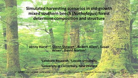 Simulated harvesting scenarios in old-growth mixed southern beech (Nothofagus) forest determine composition and structure Jenny Hurst 1,3, Glenn Stewart.