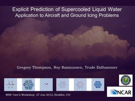 Explicit Prediction of Supercooled Liquid Water Application to Aircraft and Ground Icing Problems Gregory Thompson, Roy Rasmussen, Trude Eidhammer WRF.