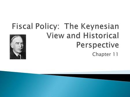 Chapter 11.  Explain the Keynesian view of fiscal policy  Understand how fiscal policy affects the economy.  Evaluate the effectiveness of fiscal policy.