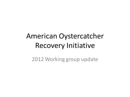American Oystercatcher Recovery Initiative 2012 Working group update.