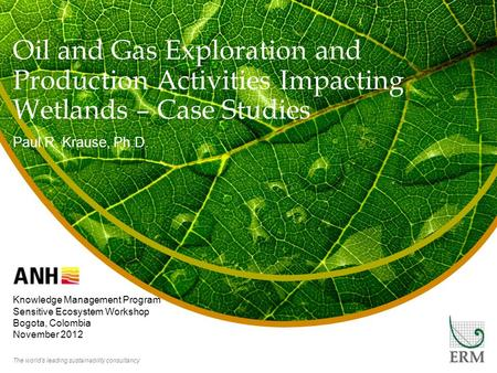The world's leading sustainability consultancy Oil and Gas Exploration and Production Activities Impacting Wetlands – Case Studies Paul R. Krause, Ph.D.