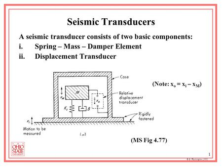 © G. Washington, 2002 1 Seismic Transducers A seismic transducer consists of two basic components: i.Spring – Mass – Damper Element ii.Displacement Transducer.