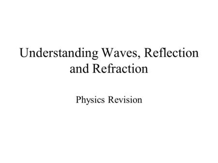 Understanding Waves, Reflection and Refraction Physics Revision.