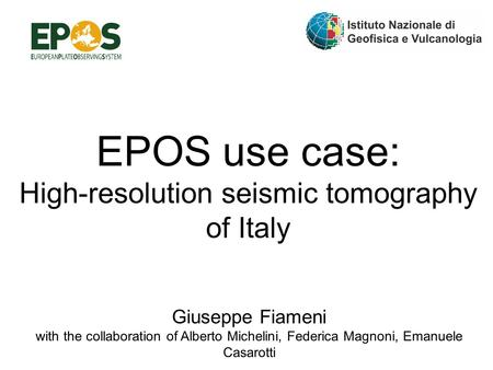 EPOS use case: High-resolution seismic tomography of Italy