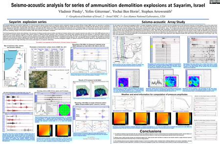 Seismo-acoustic analysis for series of ammunition demolition explosions at Sayarim, Israel Vladimir Pinsky 1, Yefim Gitterman 1, Yochai Ben Horin 2, Stephen.