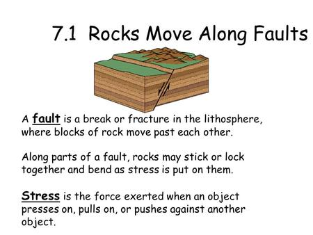 7.1 Rocks Move Along Faults
