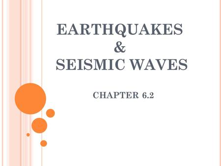 EARTHQUAKES & SEISMIC WAVES CHAPTER 6.2. W HAT IS AN EARTHQUAKE ? The shaking and trembling that results from the movement of rock beneath Earth's surface.