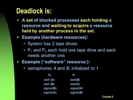 Chapter 81 Deadlock is:  A set of blocked processes each holding a resource and waiting to acquire a resource held by another process in the set.  Example.