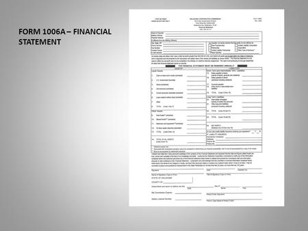FORM 1006A – FINANCIAL STATEMENT