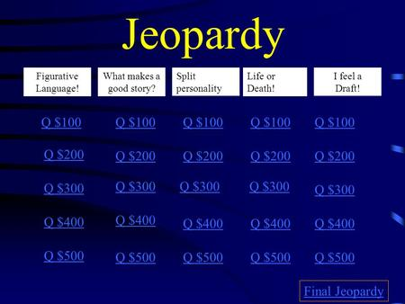 Jeopardy Figurative Language! ! What makes a good story? Life or Death! I feel a draft Q $100 Q $200 Q $300 Q $400 Q $500 Q $100 Q $200 Q $300 Q $400.