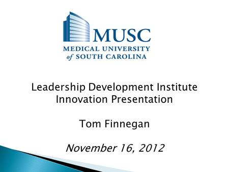 Leadership Development Institute Innovation Presentation Tom Finnegan November 16, 2012.