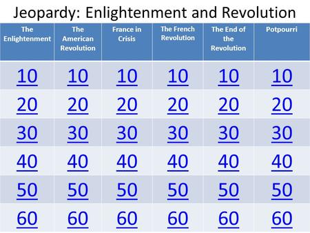 Jeopardy: Enlightenment and Revolution The Enlightenment The American Revolution France in Crisis The French Revolution The End of the Revolution Potpourri.
