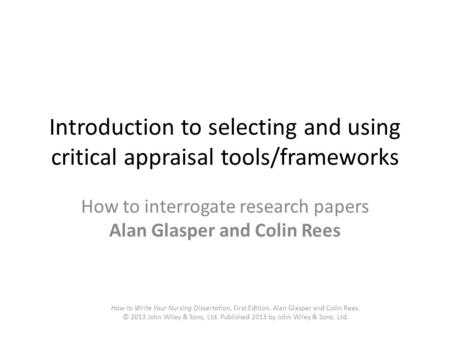 Sample of critical appraisal of qualitative research paper