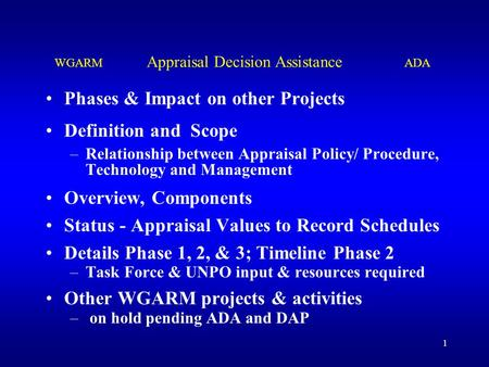 1 Phases & Impact on other Projects Definition and Scope –Relationship between Appraisal Policy/ Procedure, Technology and Management Overview, Components.