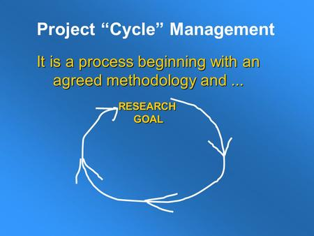 "Project ""Cycle"" Management It is a process beginning with an agreed methodology and... RESEARCH GOAL GOAL."