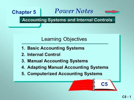 C5 - 1 Learning Objectives Power Notes Accounting Systems and Internal Controls Accounting Systems and Internal Controls 1.Basic Accounting Systems 2.Internal.
