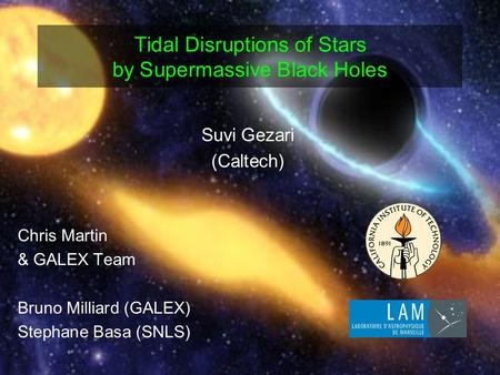 Tidal Disruptions of Stars by Supermassive Black Holes Suvi Gezari (Caltech) Chris Martin & GALEX Team Bruno Milliard (GALEX) Stephane Basa (SNLS)