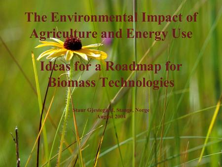 The Environmental Impact of Agriculture and Energy Use Ideas for a Roadmap for Biomass Technologies Staur Gjestegård, Stange, Norge August 2004.