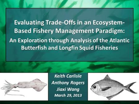 Evaluating Trade-Offs in an Ecosystem- Based Fishery Management Paradigm: An Exploration through Analysis of the Atlantic Butterfish and Longfin Squid.