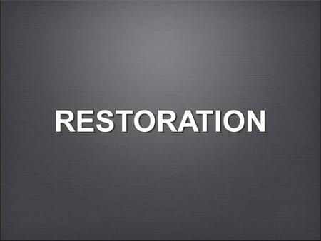 "RESTORATIONRESTORATION. ENMITY AND SEPARATION ""Behold, the Lord's hand is not so short That it cannot save; Nor is His ear so dull That it cannot hear."