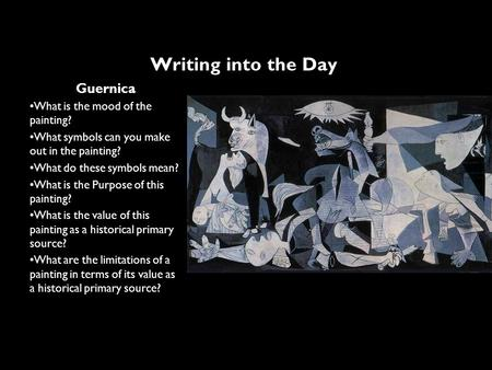 Writing into the Day Guernica What is the mood of the painting?