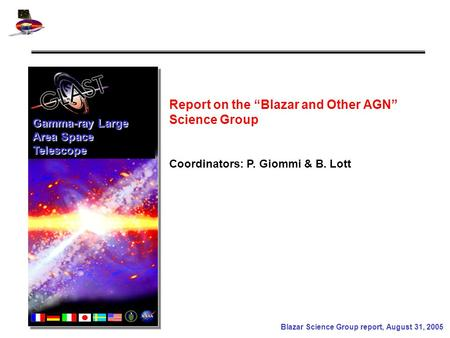 "Blazar Science Group report, August 31, 2005 Gamma-ray Large Area Space Telescope Coordinators: P. Giommi & B. Lott Report on the ""Blazar and Other AGN"""