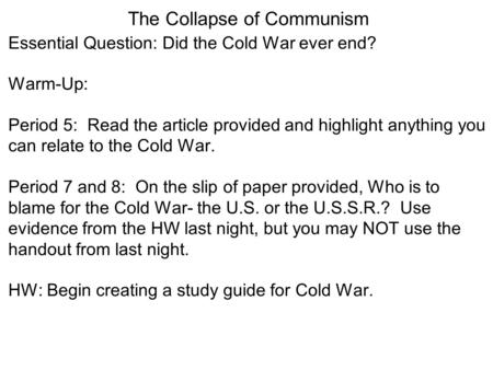 end of cold war essay questions