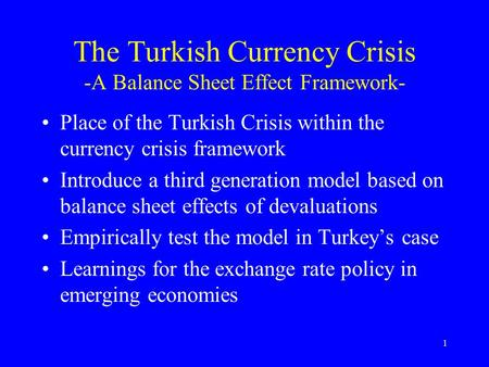 the three generations of currency crises models Since the seminal work of paul krugman, the growing body of literature that has tried to explain currency crises has been divided into three generations of models.
