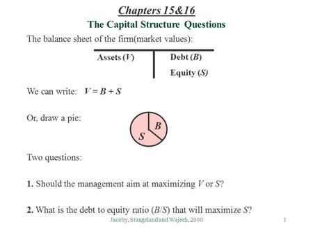 Jacoby, Stangeland and Wajeeh, 20001 The Capital Structure Questions The balance sheet of the firm(market values): We can write: V = B + S Or, draw a pie: