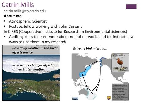 Catrin Mills About me Atmospheric Scientist Postdoc fellow working with John Cassano In CIRES (Cooperative Institute for Research.