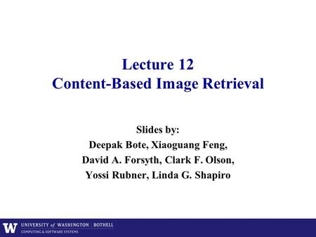 Lecture 12 Content-Based Image Retrieval