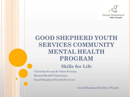 GOOD SHEPHERD YOUTH SERVICES COMMUNITY MENTAL HEALTH PROGRAM