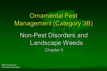 MSU Extension Pesticide Education Ornamental Pest Management (Category 3B) Non-Pest Disorders and Landscape Weeds Chapter 5.