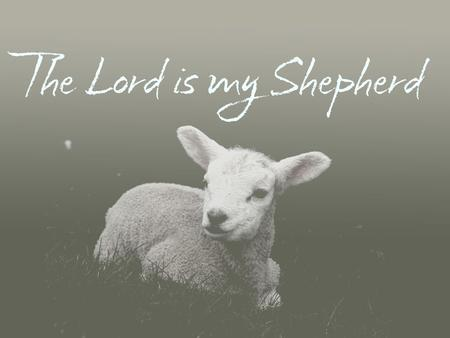 Psalm 23 (NIV) 1 The Lord is my shepherd, I shall not be in want. 2 He makes me lie down in green pastures, he leads me beside quiet waters, 3 he restores.
