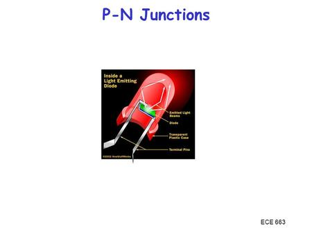 ECE 663 P-N Junctions. ECE 663 So far we learned the basics of semiconductor physics, culminating in the Minority Carrier Diffusion Equation We now encounter.