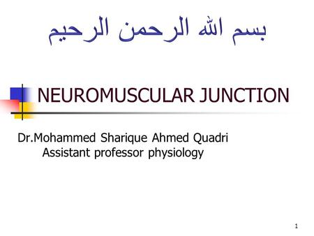 NEUROMUSCULAR JUNCTION Dr.Mohammed Sharique Ahmed Quadri Assistant professor physiology 1.