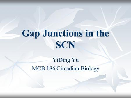 Gap Junctions in the SCN YiDing Yu MCB 186 Circadian Biology.