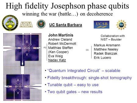 "High fidelity Josephson phase qubits winning the war (battle…) on decoherence ""Quantum Integrated Circuit"" – scalable Fidelity b reakthrough: single-shot."