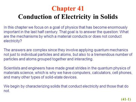Conduction of Electricity in Solids