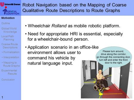 Robot Navigation based on the Mapping of Coarse Qualitative Route Descriptions to Route Graphs Motivation Outline Global World Knowledge Local Path Planning.
